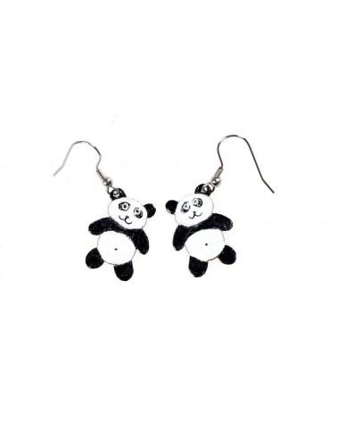 Smaltované náušnice - panda